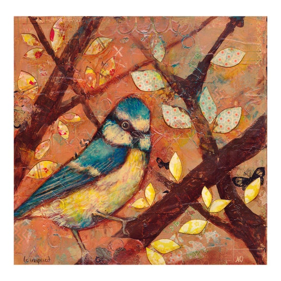 Original Bird Painting Mixed Media Autumn Bluebird Painting Canvas Wall Art