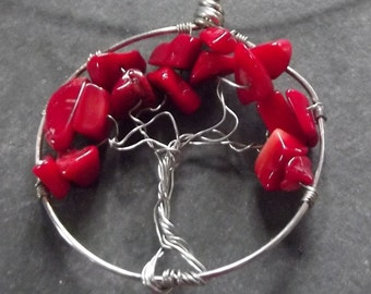 Tree of Life Red Coral Artisan Wire Wrapped Pendant Necklace