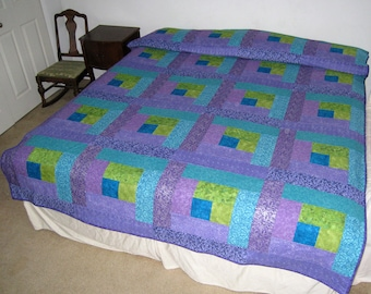 Bright Ocean Turquoise, Lavender, Apple Green Full / Queen size Quilt