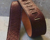 Brown Dragon Hide Leather Guitar Strap
