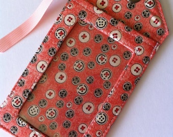 Fabric Luggage Tag Sewing Themed Snaps and Buttons, Bag identification, badge holder