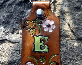 Leather Key Chain, Brown with Flowers, Personalized With Initial