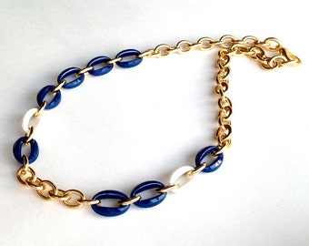 Statement Necklace White, Nautical Navy Blue, and Gold Link Chain Necklace or Three Layered Stacking Bracelet Made with Vintage Links