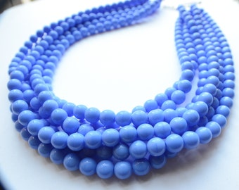 The Michelle- Periwinkle Czech Glass Statement Necklace