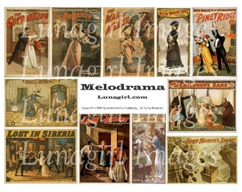 VICTORIAN MELODRAMA digital collage sheet vintage images theater posters women kitsch steampunk altered art ephemera cards supplies DOWNLOAD