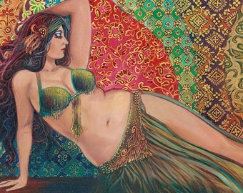 Raqs Sharqi Fine Art Print Mini Altar Art ACEO ATC Pagan Mythology Psychedelic Belly Dance Bohemian Gypsy Goddess Art