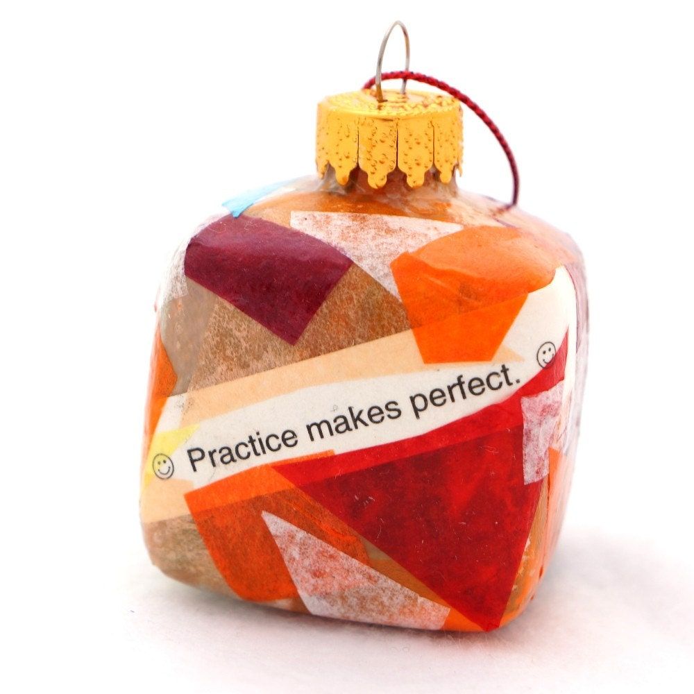 Recycled Ornament - Small Cube Painted Inside Decoupage Outside - Orange Red