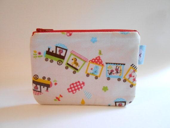 FLASH SALE --- Small zipper pouch / camera bag --- Choo-Choo Train