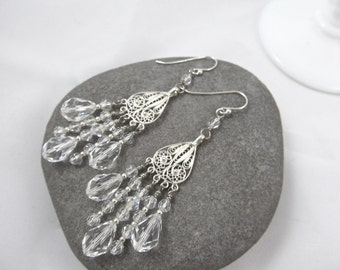 Swarovski Crystal Sterling Chandelier Earrings