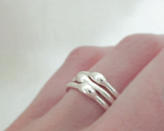 Sterling Silver Stacking Ring Set - Rain - 1.6 mm - Set of Three