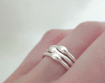 Sterling Silver Stacking Ring Set - Rain - 1.6 mm - Set of Three
