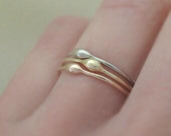 One 14k Gold Stacking Ring - Rain - Choose Yellow, Rose or Palladium White Gold