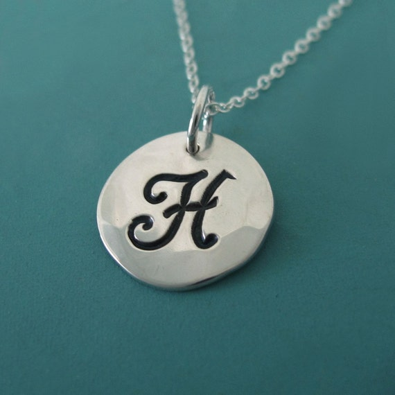 """Sterling Silver Initial Necklace - 1/2"""""""