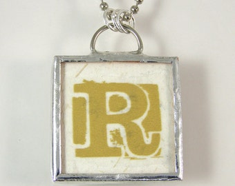 Letter R Reversible Pendant Necklace