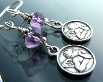 Angel Amethyst earrings sterling silver angels cherub christian Raphael cherubs