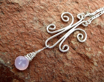 Butterfly in flight necklace with pink chalcedony in sterling silver