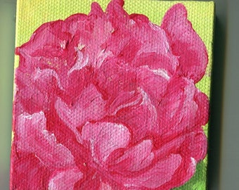 Pink Peony mini painting on Canvas with Easel. original small flower acrylic painting on little canvas, miniature painting