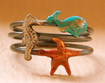 Ocean Stacking Rings (stack of 3) - Whale Seahorse Starfish - Blue Orange White
