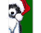 Set of 4 Santa Bearded Collie Dog Christmas BLANK Cards