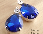 Sapphire Blue Glass Beads, Silver Plated Brass Settings, Pear Teardrop, Rhinestone, 26mm x 13mm, Choose Your Color, Glass Gems, One Pair