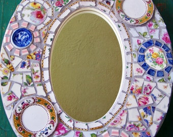 Mosaic Art Mirror Shabby Floral Beach Fun