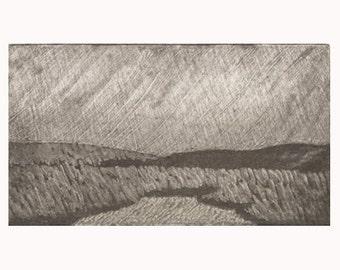 Hand printed landscape print, etching, silk aquatint, silk collograph, silk mezzotint