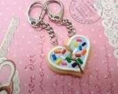 BFF Baby Blue Frosting Sugar Cookie Keychain Set: Best Friend Jewelry, Miniature Food Jewelry, Polymer Clay Food