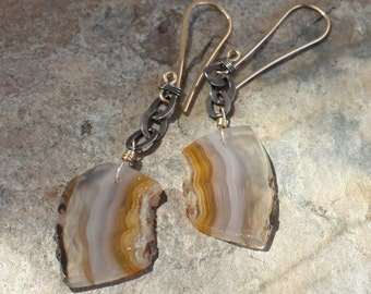 AGATE earrings, Persian Gulf Agate earrings, silver and 14k gold earrings, mixed metals, handmade artisan jewelry