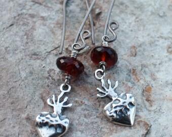 SACRED HEART earrings, GARNET earrings, Heart of Thorns, sterling silver, January birthstone, January birthdays
