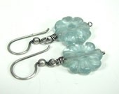 Carved Quartz, Sterling Silver, Wire Wrapped,  Flower earrings
