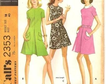 McCalls 2353 70s Dress Size 18 Uncut