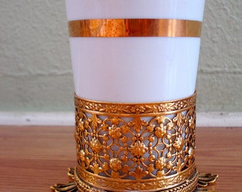 Vintage 1960s Porcelain Cup in Filigree Ormolu Base Cozy 2013413