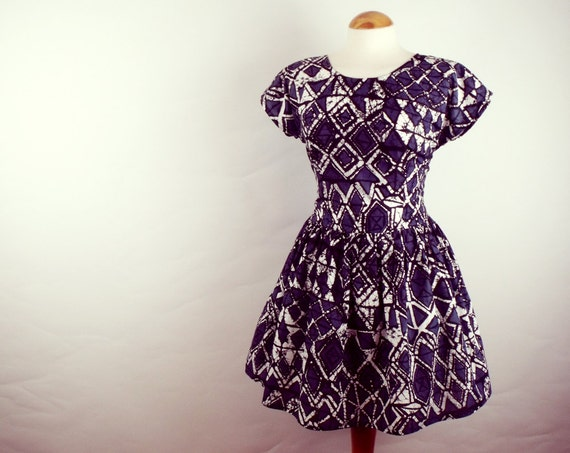 Skater dress grunge batik cotton cap sleeve full skirt