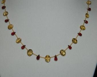 Citrine Briolettes Garnet Briolettes Gemstone Necklace on Silk  Cord and 14K Gold Filled Closure
