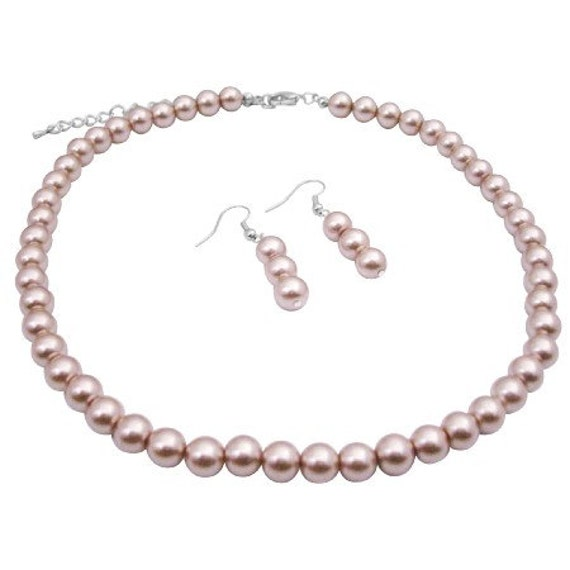 Wedding Champagne Glass Pearls Necklace Set Beautiful Pearls Bridesmaids Necklace Set Champagne Jewelry Set Free Shipping In USA
