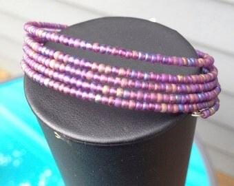 Memory Wire Bracelet: Frosted Purple Glass Beads