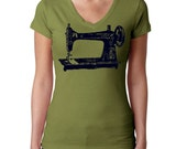 Sewing Machine Vneck - Womens Screen Printed Ladies Clothing Vintage Sewing Machine Gray and Black Vintage Inspired Graphic