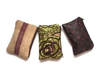 Zipper Pouch Set, Three Zipper Gift Set in Ankara, Batik and Aso Oke. Makeup bag, coin purse, Wedding favours, Afrocentric gift, African