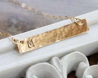 Gold Bar Necklace, Initial Necklace, Monogram, Small, Dainty, Hammered, Typewriter Font, Everyday Necklace, Mother's Necklace, 14k gold fill