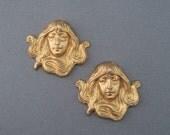 Vintage Brass Stampings Set of 2 Goddess Charms