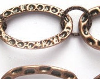 """Fabulous Hammered Antique Copper Plated 12-31mm Link Chain 2 feet 24"""""""