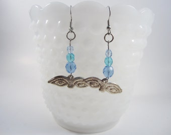 Silver Mexican Eye Prayer Charm  Earrings - Milagro Ojo Earrings in Silver