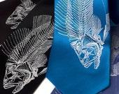 Fish Skeleton necktie. Fisherman's silkscreened fishbone silk tie. Men's gift. Delight the chef and angler!