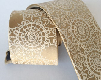 "Groom's necktie. Doily Lace print silk tie. ""Cottage Lace"" silkscreen tie, ivory cream print on a tan, latte color silk."