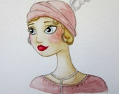 RESERVED - Great Gatsby Inspired ORIGINAL 5x7 Watercolor Painting