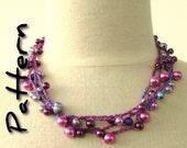 Crochet necklace pattern, easy written instructions, wrap necklace, beaded bracelet pattern