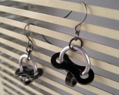 Brushed silver circles with black bicycle chain links earrings
