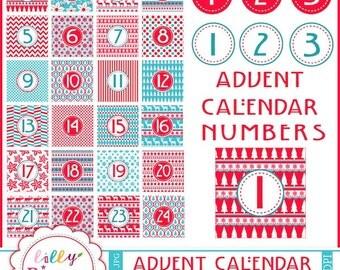 40% off Advent Calendar Clipart DIY digital Christmas  INSTANT DOWNLOAD numbers Scandinavian Countdown