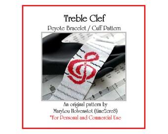 Peyote Bracelet Pattern ... TREBLE CLEF ... Music . G Clef . Musician . Notation . Musical Gift . Modern . Bold . Tutorial . Beadweaving