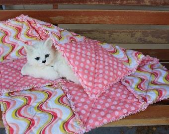Cat Blanket, Pink Cat Bed, Catnip Blanket, Cat Nip Bed, Designer Cat Bed, Small Dog Blanket, Dog Blanket, Washable Cat Blanket